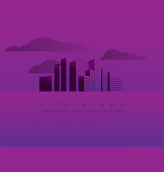 urban landscape city skyline in purple background vector image