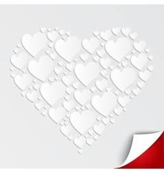 Valentines heart of paper on white background vector image vector image