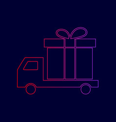 delivery gift sign line icon with vector image