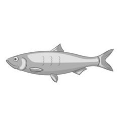 Fish icon gray monochrome style vector image