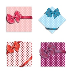 Gift cards with ribbon background vector image vector image