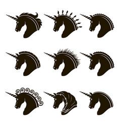 horse unicorn vector image vector image