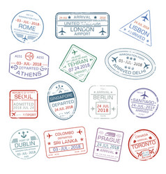 Icons of world travel city passport stamps vector