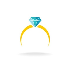 Wedding engagement ring simple color logo with vector image