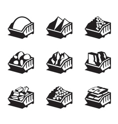 Containers with building materials vector