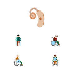 flat icon disabled set of injured disabled person vector image vector image