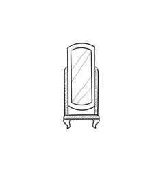 Swivel mirror on stand sketch icon vector image vector image