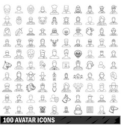 100 avatar icons set outline style vector