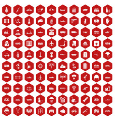 100 burden icons hexagon red vector