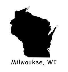 1303 milwaukee wi on wisconsin state map vector
