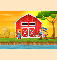 a boy and girl riding a horse in the farm backgrou vector image