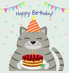A gray fat cat in the cap sits and holds a cake in vector