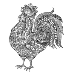 Adult and children Coloring book cock Farm vector