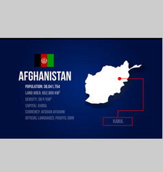 Afghanistan country infographic with flag and map vector