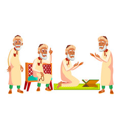 arab muslim old man poses set elderly vector image
