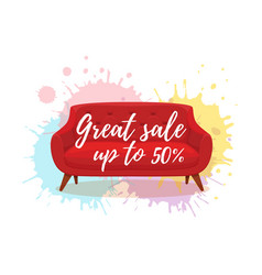 armchair colorful cartoon sale vector image
