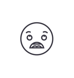 astonished emoji concept line editable vector image