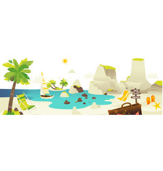 beach scene banner with summer vacation elements vector image