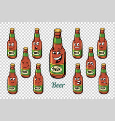 Beer bottle emotions characters collection set vector