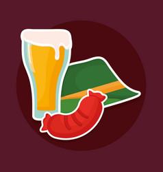 beer glass with geman hat vector image
