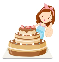 Big Cake With Girl Thump Up vector