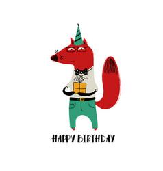 Birthday card with cute fox vector