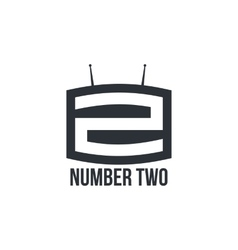 Black and white number two logo as TV set vector image