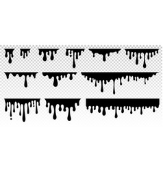 black dripping paint melting chocolate or drip vector image