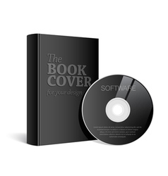 Black Realistic Blank book cover vector