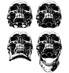 Black scary graphic human skull tattoo set vector image
