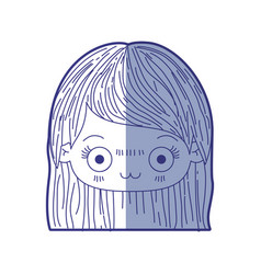 Blue shading silhouette of kawaii head of cute vector