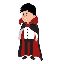 Boy dracula campire costume in halloween vector