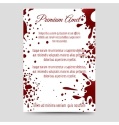 Brochure flyer template with blood splashes vector image