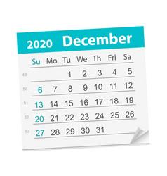 Calendar sheet for month december 2020 vector