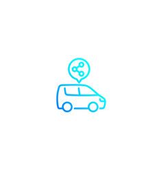 Carsharing carpooling linear style icon vector