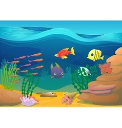 Cartoon fish with seaweed vector image
