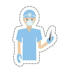 cartoon surgeon professional scalpel head mirror vector image
