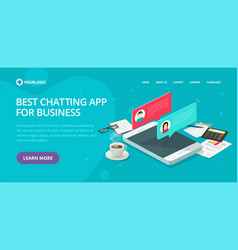 Chat text messaging app website template design vector