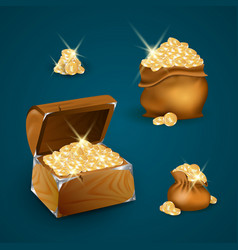 chest with golden coins vector image
