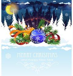 Christmas decorations in the night winter forest vector