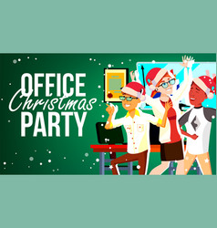 christmas party in office santa hats vector image