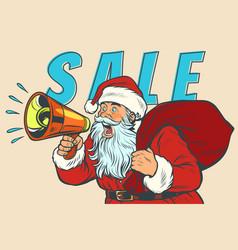 Christmas sale santa claus with megaphone vector
