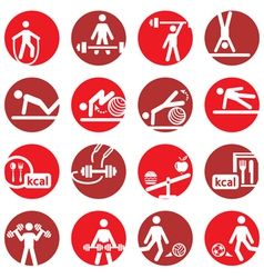color fitness and sport icons vector image