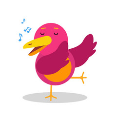 Colorful cartoon bird character in geometric shape vector