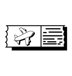 contour airplane ticket document to vacation vector image