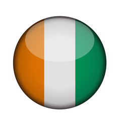 cote d ivoire flag in glossy round button of icon vector image