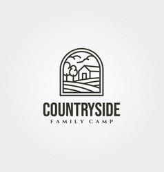 countryside cabin logo symbol design line art vector image
