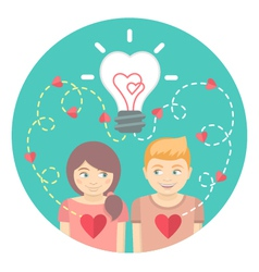 Couple in love with a light bulb in a blue circle vector image vector image