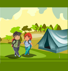 couple tourist with tent vector image