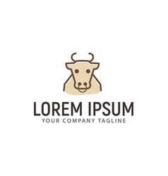 cow outline logo design concept template vector image
